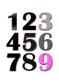 Barnrumstavla, siffror
