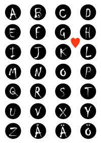Barnrumstavla, alfabete